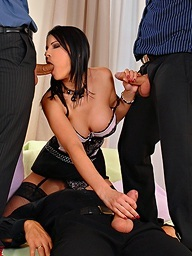 Sexy boss lady Abbie Cat enjoys a payment bonus gang..