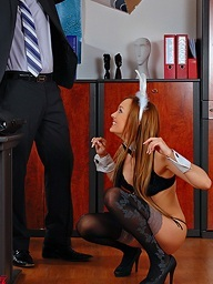 Boss gets a nice-looking blonde sex bunny in a box..