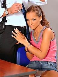 Sabrina Sweet sucks her bosses large schlong off in..